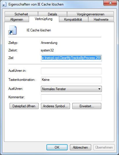 Internet Explorer Cache löschen