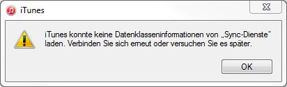 iTunes Fehler Datenklasseninformationen Sync-Dienste