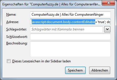 Java Script Lesezeichen