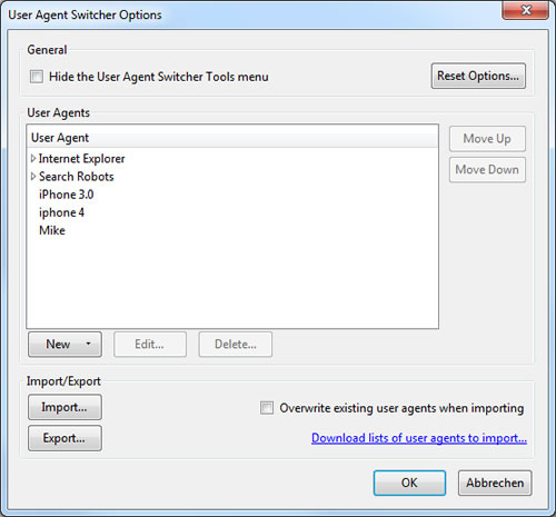 Firefox Add-on: User Agent Switcher