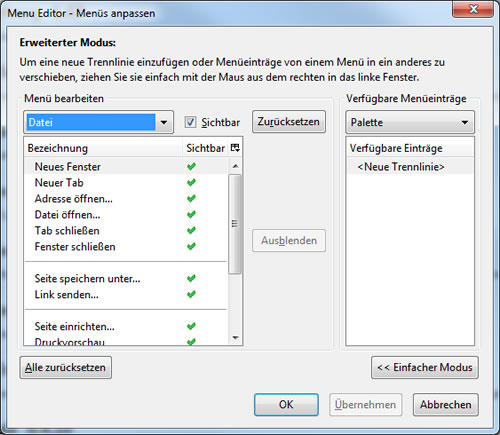 Firefox Add-on: Menu Editor