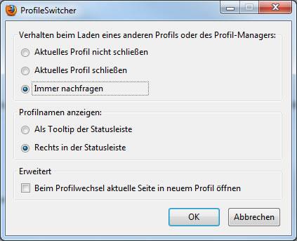 Firefox Add-on: ProfileSwitcher
