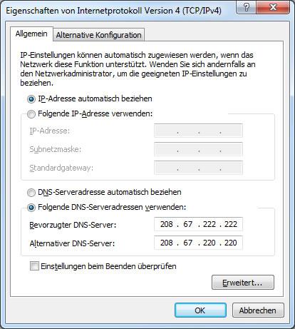 OpenDNS Eintrag in der Netzwerkverbindung