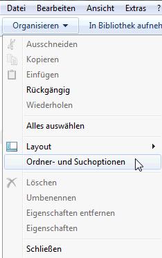 Ordner und Suchoptionen Windows7