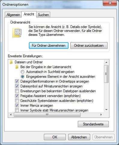 Windows7 Ordneroptionen