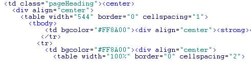 Elemente der html Syntax in verschiedenen Farben