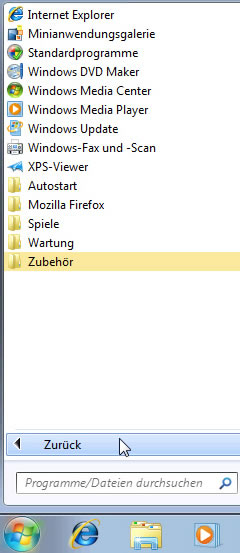 Windows 7 Startmenü alle Programme