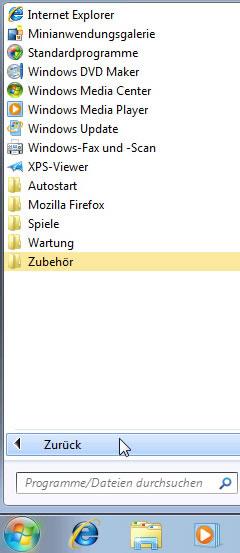 Windows 7 Startmenü alle Programme