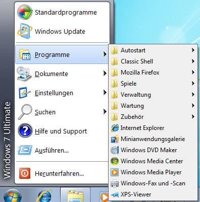 WindowsXP Startmenü unter Windows7