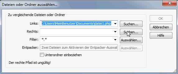 WinMerge Auswahl der zweiten Datei