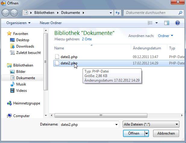 WinMerge zweite Datei öffnen