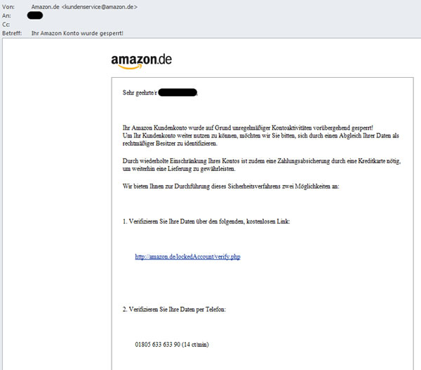 Amazon Phishing email