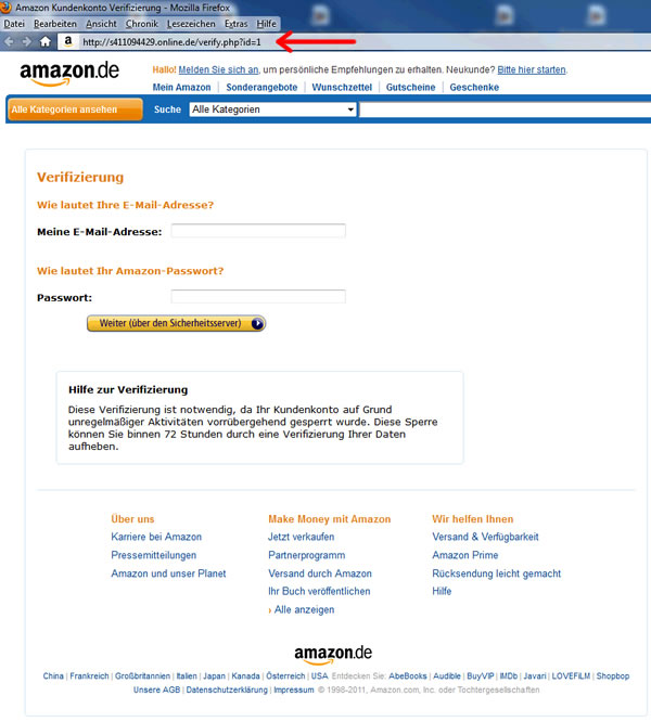 Amazon Phishing Webseite