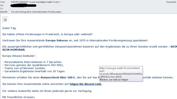 Inkasso Phishing e-mail