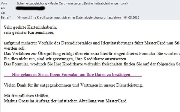 Kreditkarten Phishing email