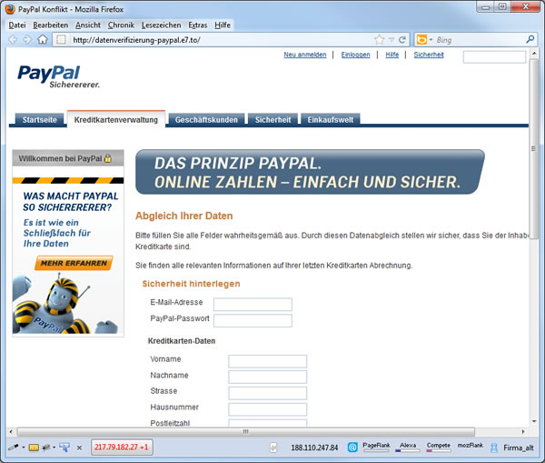Phishing email PayPal mit falscher Domain