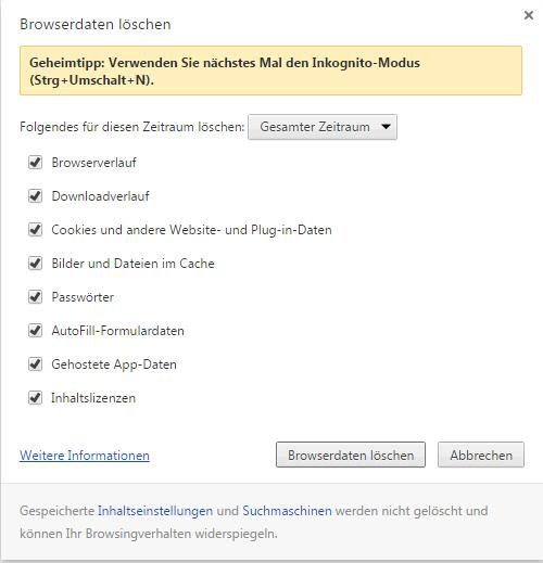 Alle Chrome Browserdaten löschen