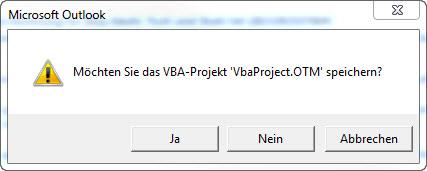 Outlook VBA-Projekt speichern