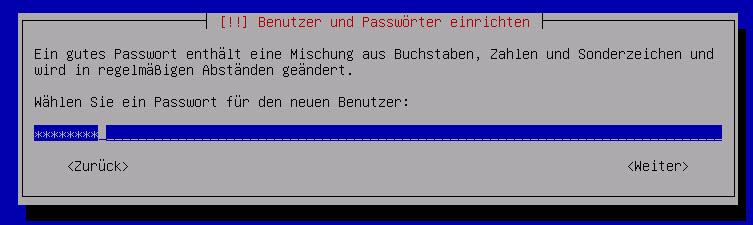 Debian Server Benutzer Passwort vergeben