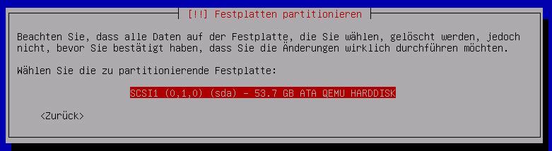 Debian Server Festplatte bestaetigen