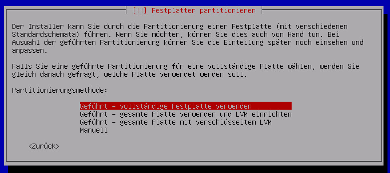 Debian Server Festplatte partitionieren