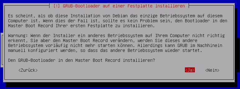 Debian Server GRUP Bootloader installieren