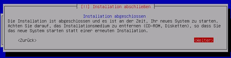Debian Server Installation abschliessen