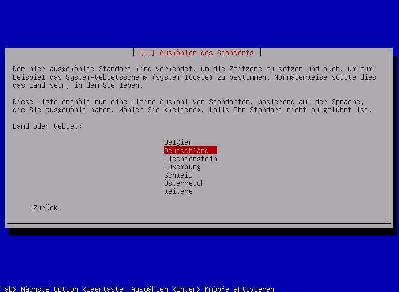 Debian Server Landesauswahl