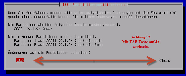 Debian Server Patitionierung schreiben
