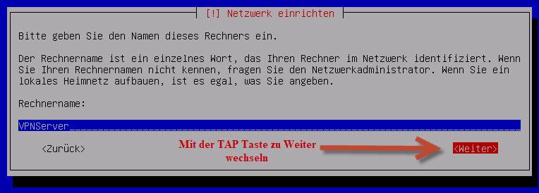 Debian Server Rechnername