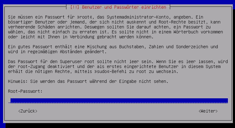 Debian Server Root Passwort vergeben