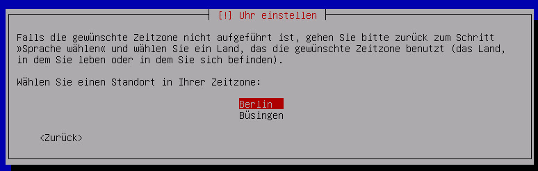 Debian Server Zeitzone eingeben