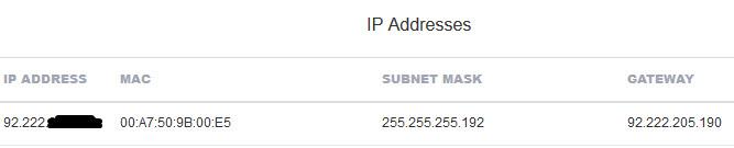 Server IP Adresse