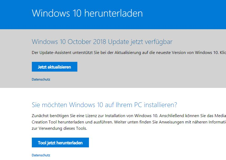 Standardansicht Window10 Download