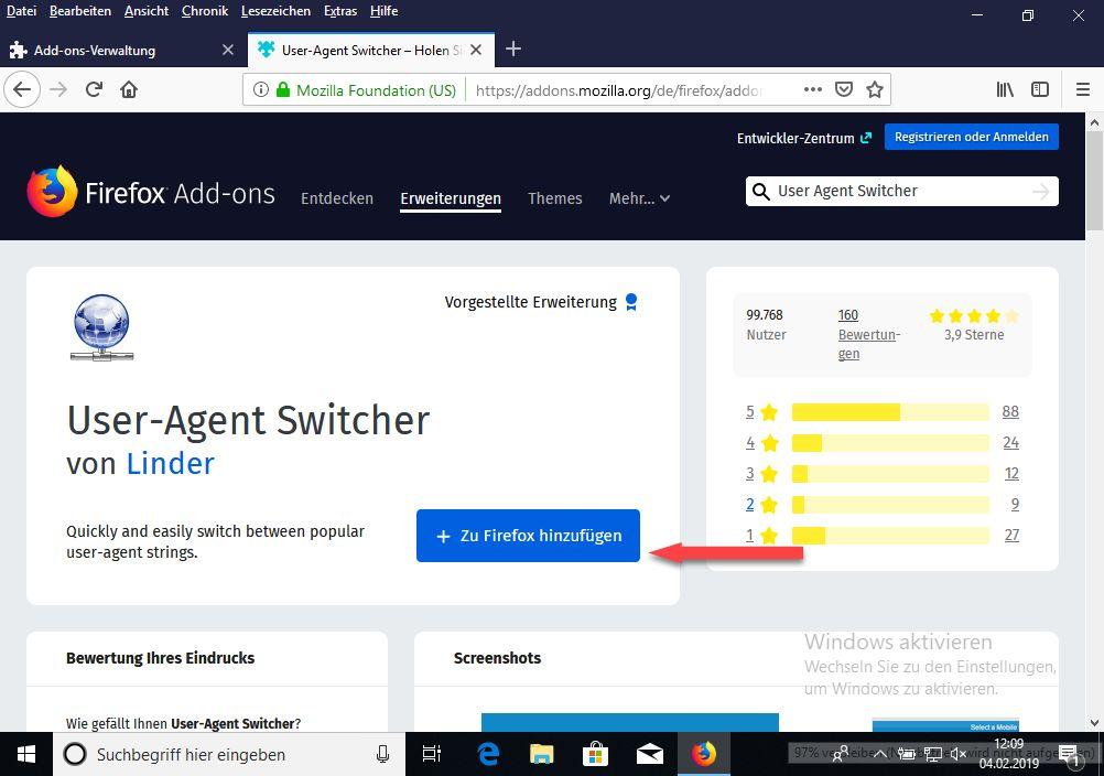 User Agent Switcher zu Firefox hinzufügen.