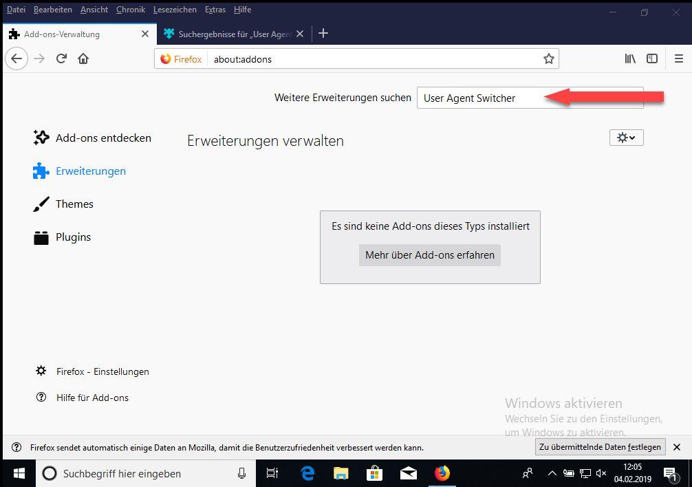 Firefox User Agent Switcher