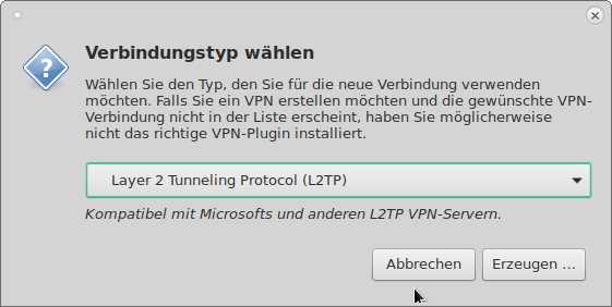 Verbindungstyp Layer-2 Tunneling Protocol-L2TP
