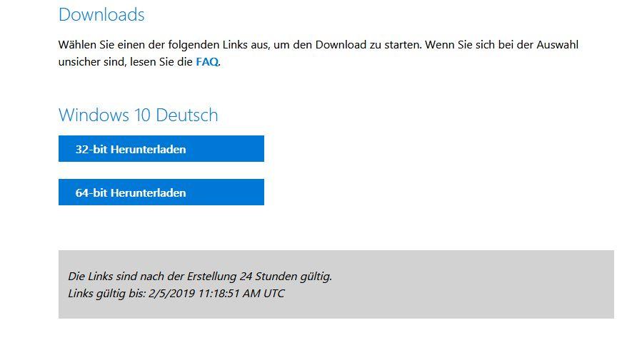 Windows10 32bit oder 64bit auswählen.