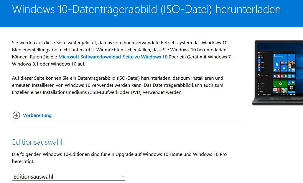 Windows10 Datenträgerabblid ISO Datei herunterladen
