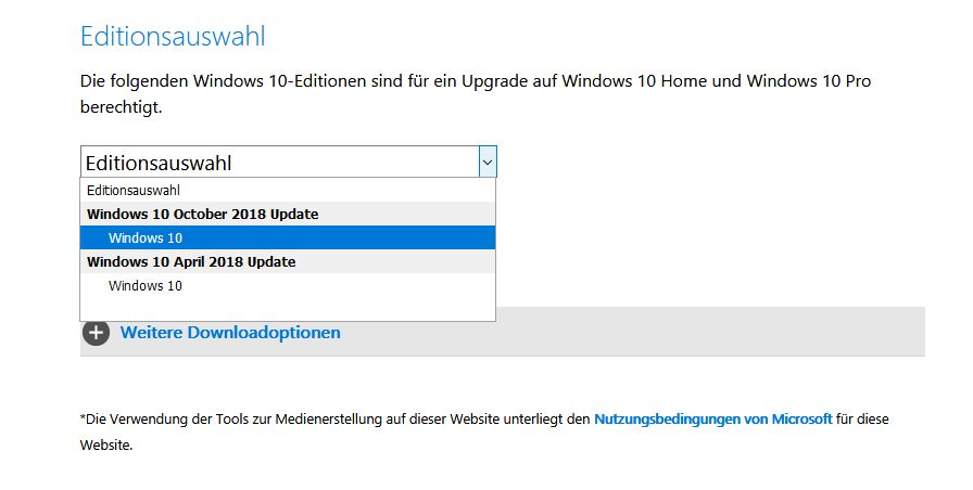 Windows10 Editionsauswahl