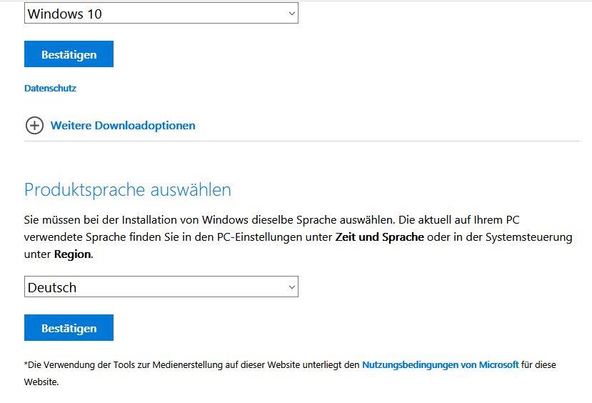 Windows10 ISO Sprache auswählen