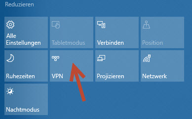 Windows 10 VPN Auswahl